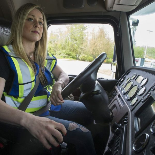 Langley, BC: April 28, 2017 -- Sophia Athanas behind the wheel of an Valley Driving School 18-wheeler rig in Langley, BC Friday, April 28, 2017. Athanas is a participant in a YWCA program to help unemployed women find jobs.   (Photo by Jason Payne/ PNG) (For story by Glenda Luymes) ORG XMIT: trucker [PNG Merlin Archive]
